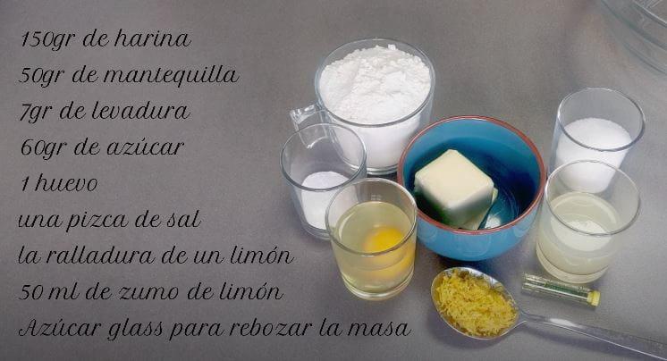 ingredientes para preparar las mejores galletas craqueladas de limon del mundo.